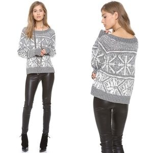 Alice + olivia silver snow flakes knitted sweater